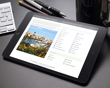 Web App Hotel on tablet